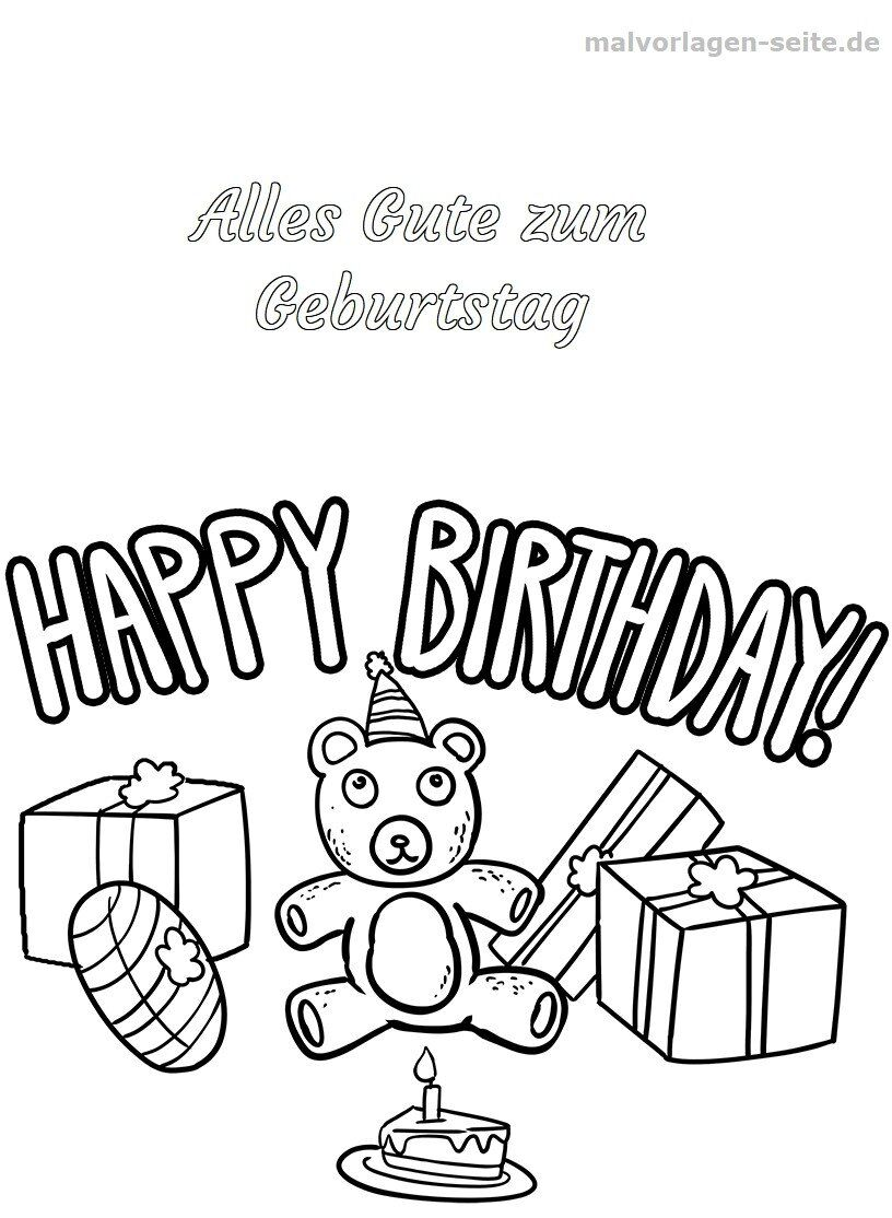 Malvorlage Happy Birthday | Gratis Malvorlagen zum Download