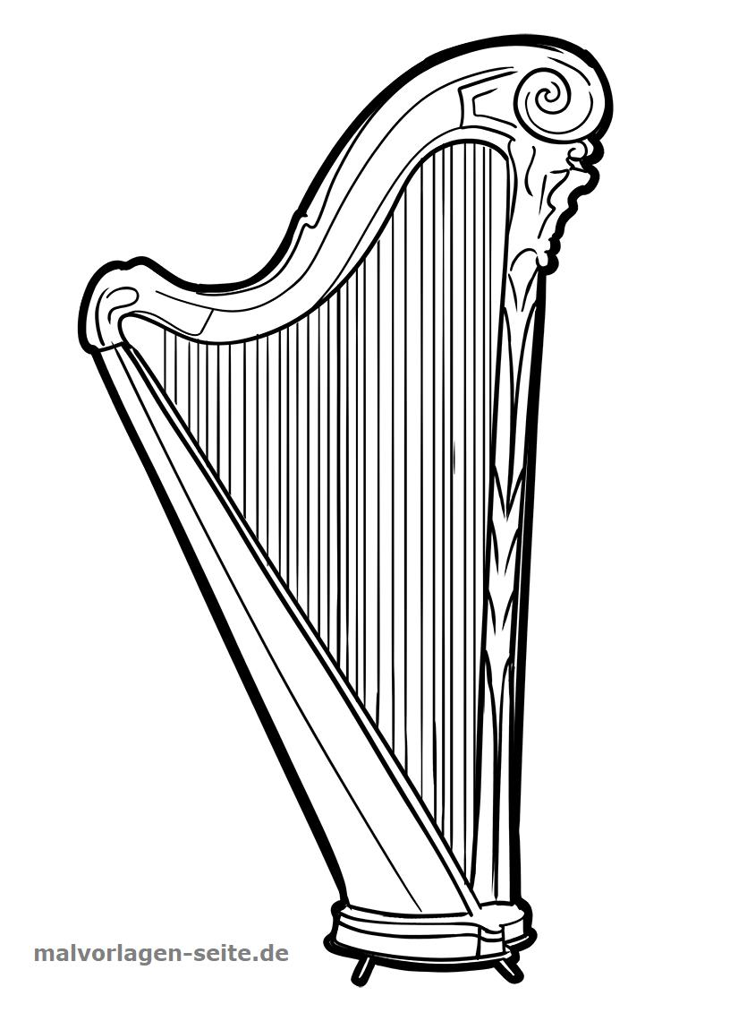malvorlage harfe  musik  kostenlose ausmalbilder