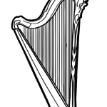 Coloring page harp | music