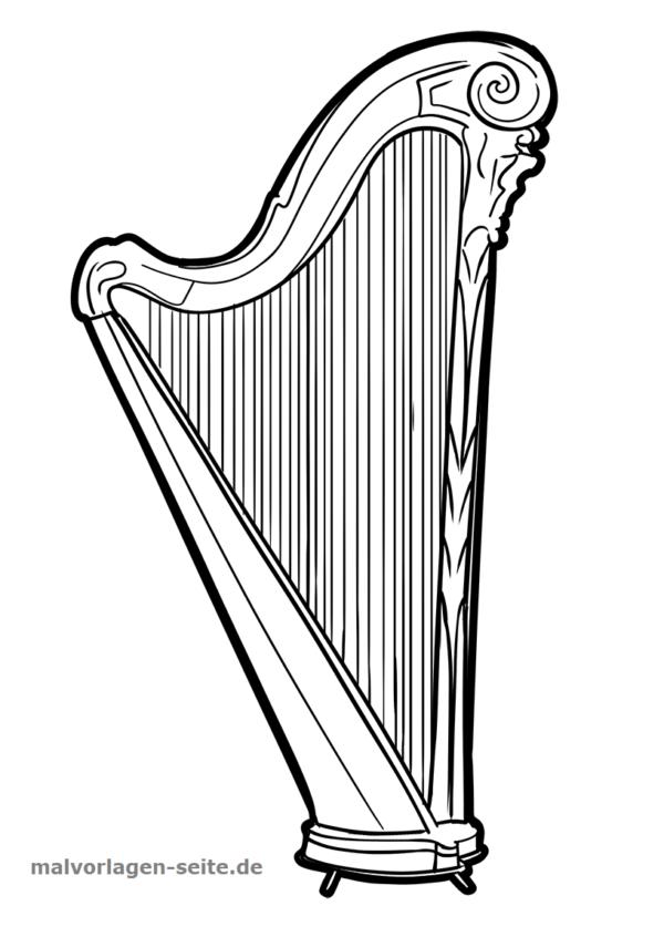Malvorlage Musikinstrument Harfe