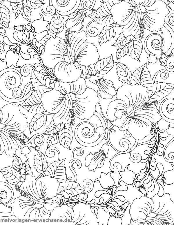 Coloring page hibiscus with flowers