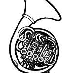 Coloring page horn | Musical instruments