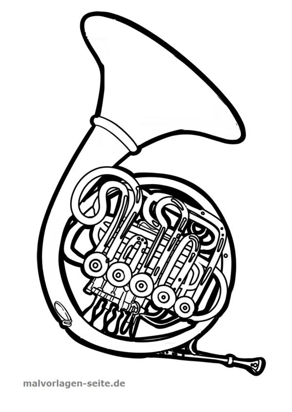 Malvorlage / Ausmalbild Musikinstrument Horn