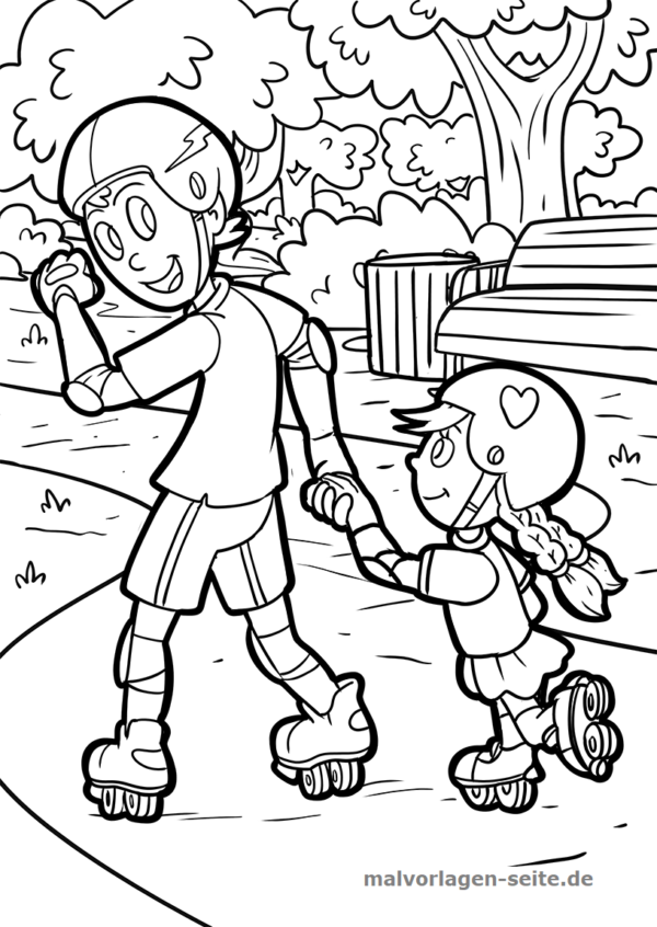 Coloring page inline skating