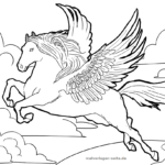 Coloring page Pegasus | mythical creatures