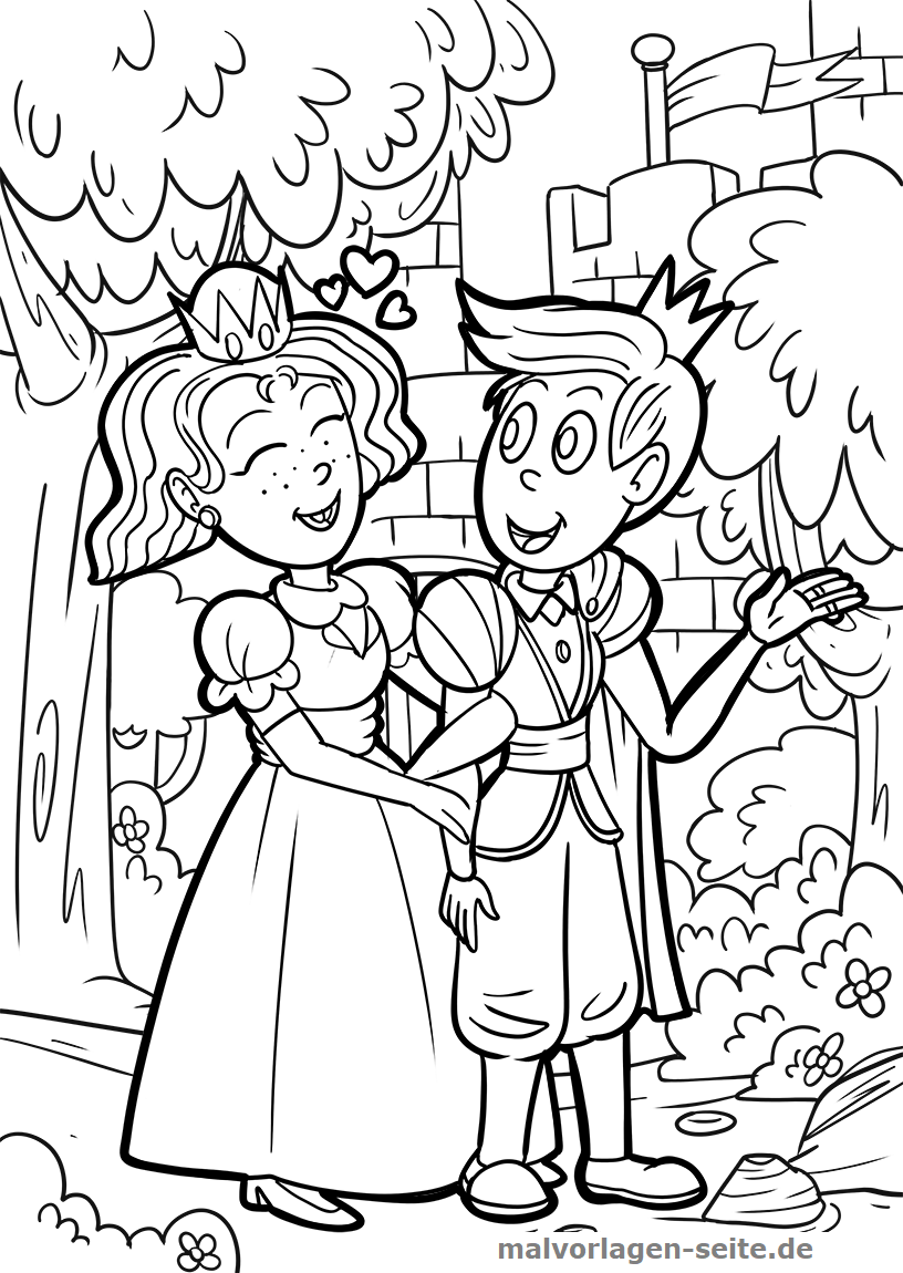 Malvorlage Prinz und Prinzessin | Gratis Malvorlagen zum Download