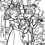 Coloring page prince and princess