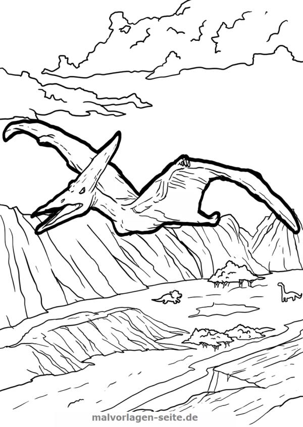 Malvorlage / Ausmalbild Dinosaurier Pteranodon