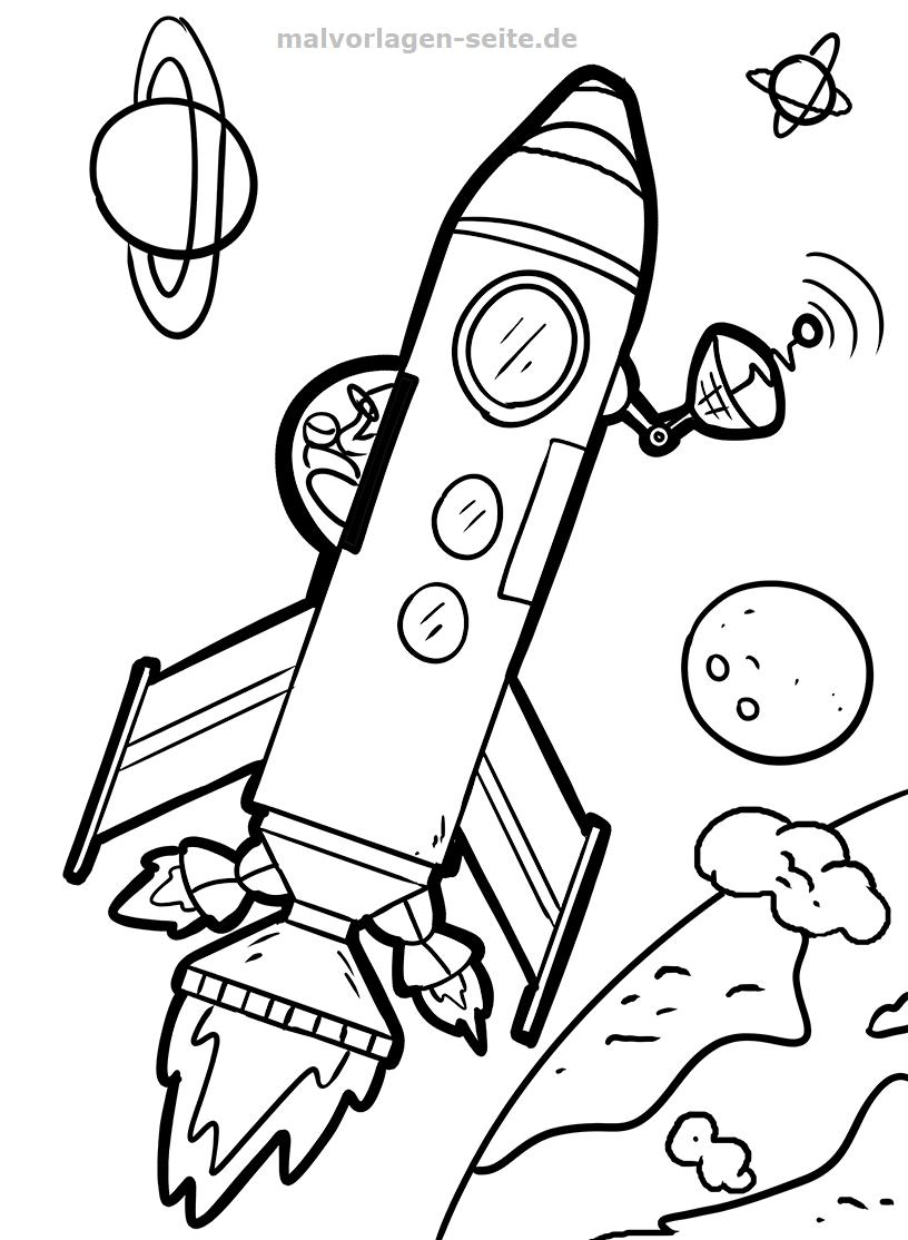 Malvorlage Rakete Weltraum