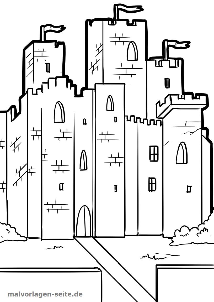 Malvorlage Ritterburg  Ritter Burg - Kostenlose Ausmalbilder