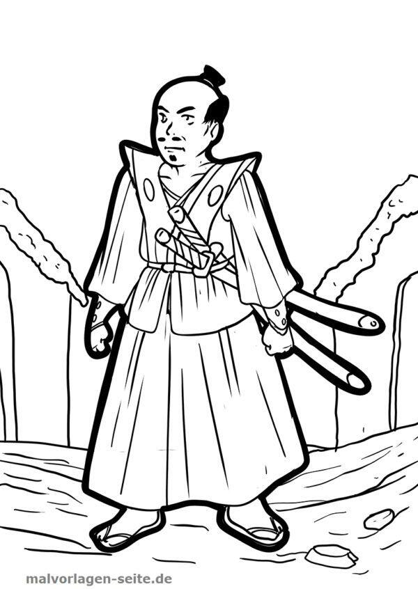 Väritys sivu samurai
