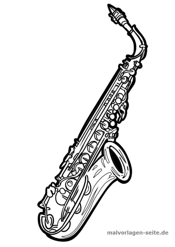 Malvorlage Musikinstrument Saxophon