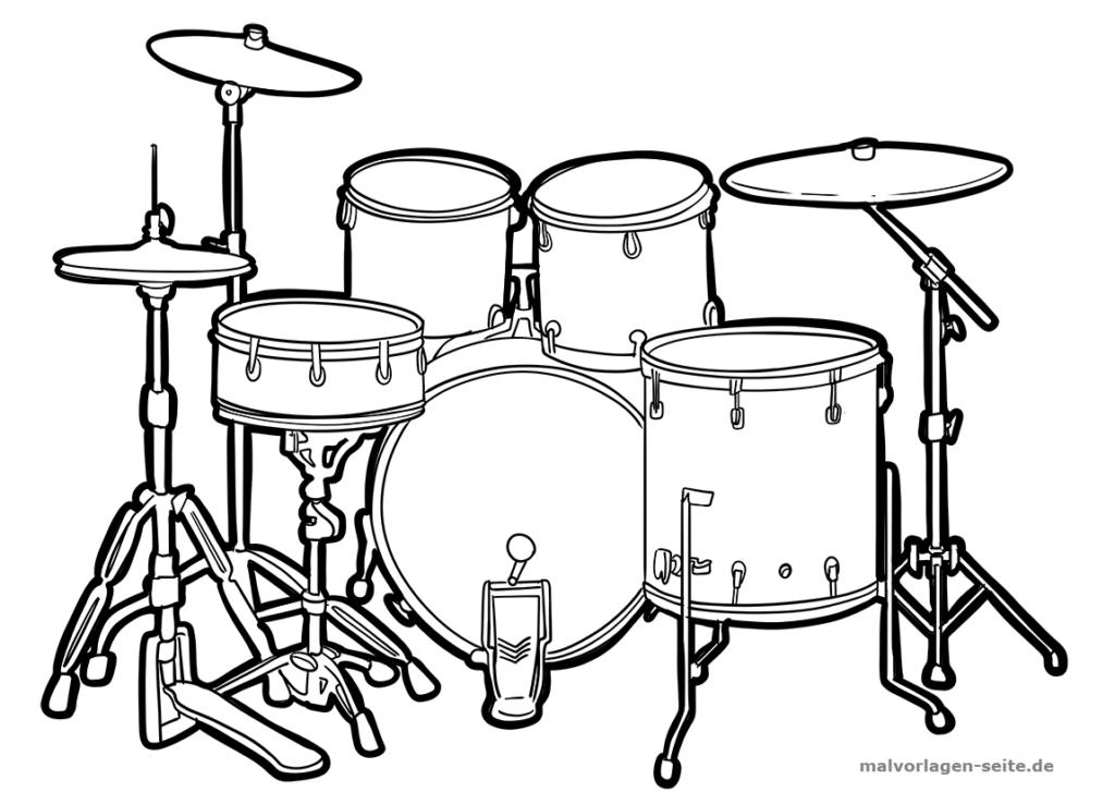 malvorlage schlagzeug  musik  kostenlose ausmalbilder