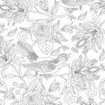 Coloring page birds and roses
