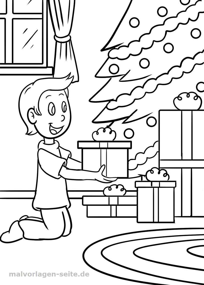 Ausmalbild Geschenk Weihnachten