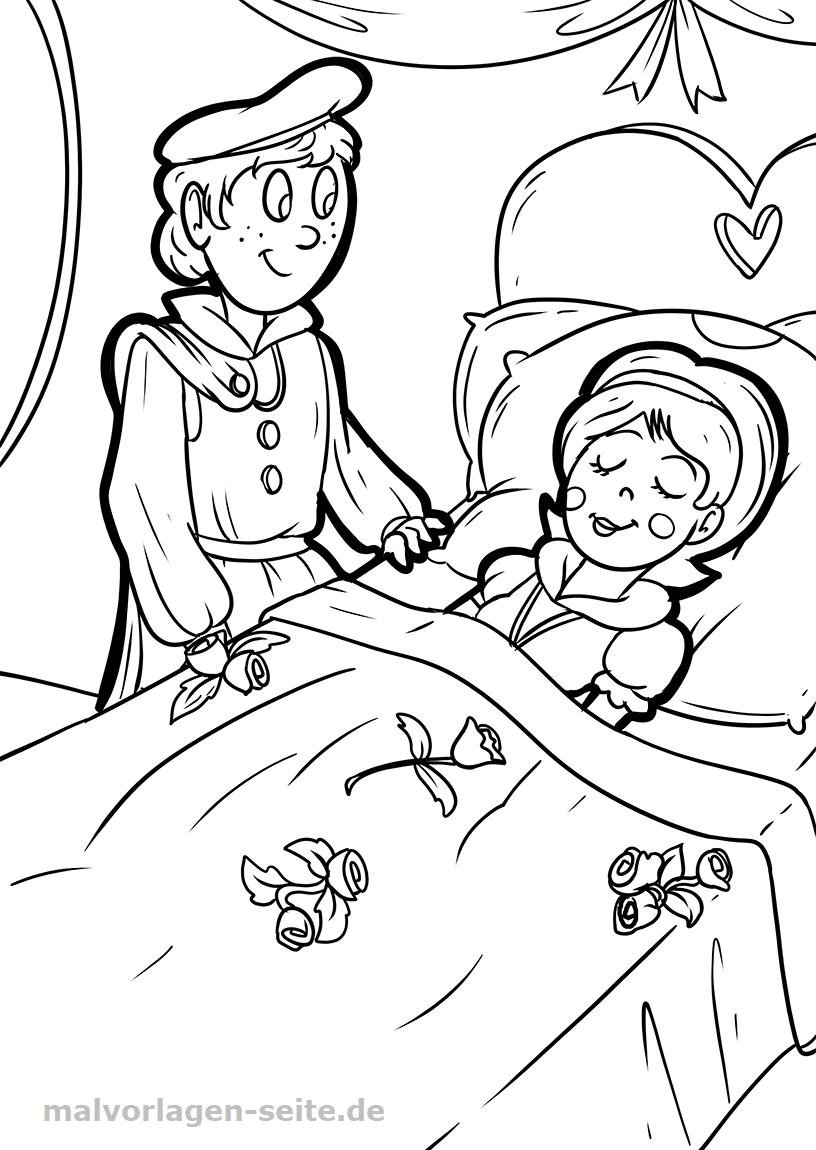 malvorlage dornröschen märchen  kostenlose ausmalbilder