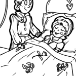 Coloring book Sleeping Beauty fairy tale