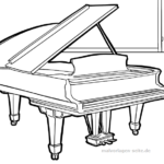 Coloring page musical instrument wings