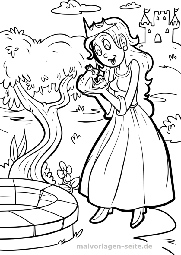 Coloring page The Frog King Fairy Tale | Gratis Malvorlagen zum Download