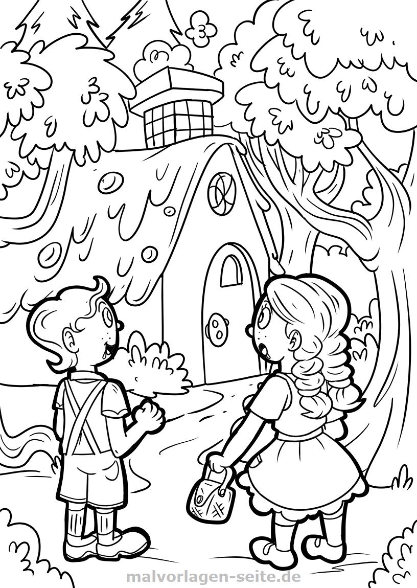 Malvorlage Hänsel und Gretel Märchen | Gratis Malvorlagen zum Download