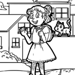 Coloring page girl with cat | people