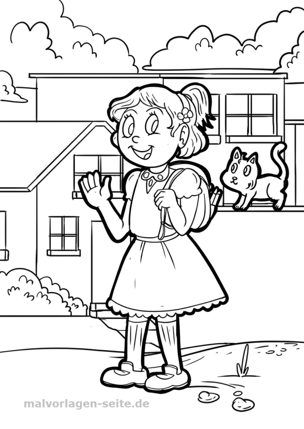 Malvorlage Mädchen mit Katze