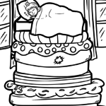 Coloring page The princess on the pea fairy tale