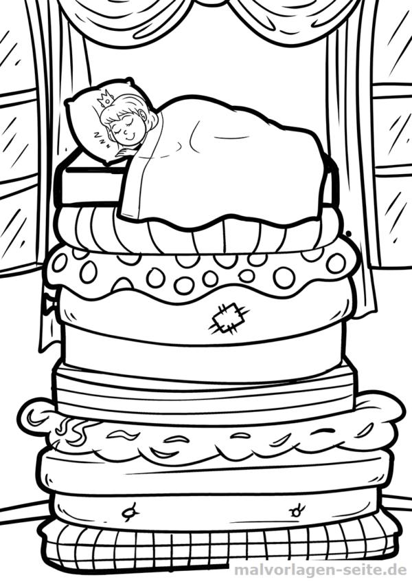 Malvorlage / Ausmalbild Die Prinzessin auf der Erbse