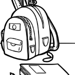 Colouring page schoolbags | skole