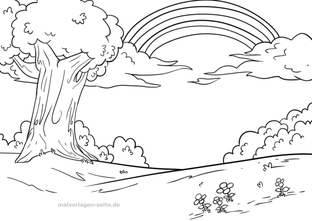 Coloring page rainbow and landscape