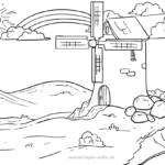 Coloring page rainbow and windmill