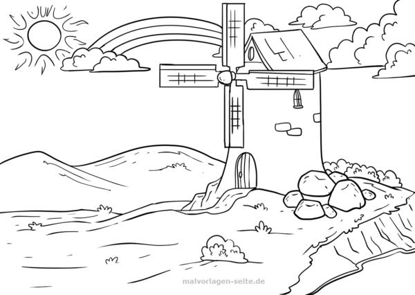 Malvorlage Regenbogen und Windmühle