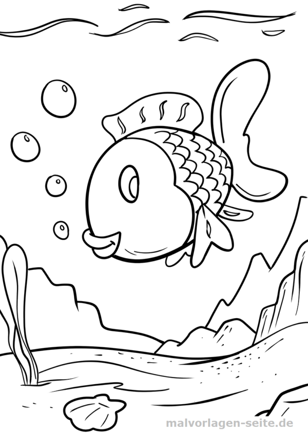 Coloring page colorful fish