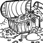 Coloring page treasure chest | pirates