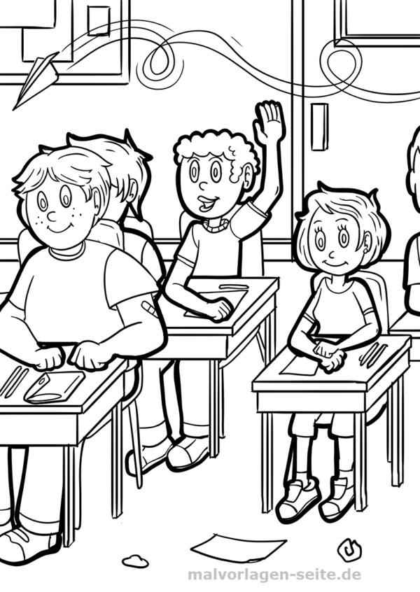 Malvorlage / Ausmalbild Schule
