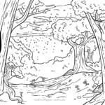 Coloring page forest and rain | landscapes