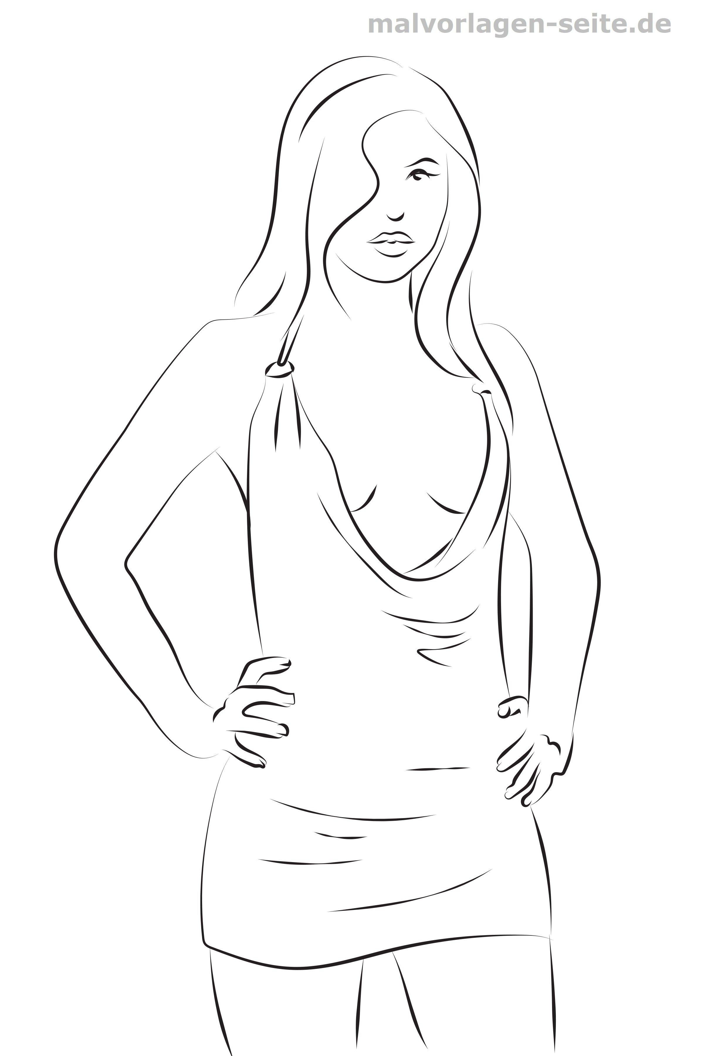 Malvorlage Mode Sommerkleid | Gratis Malvorlagen zum Download