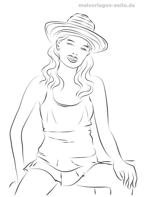 Coloring page fashion design & fashion - summer clothes
