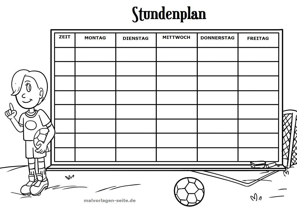Stundenplan Fußball Gratis Malvorlagen Zum Download