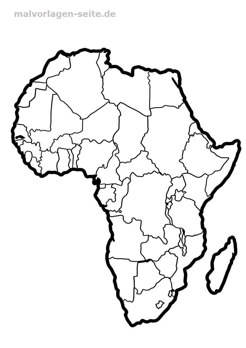 Landkarte Afrika - Kostenlose Ausmalbilder