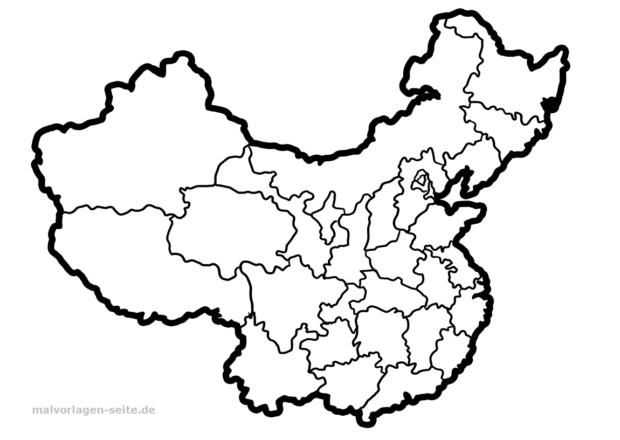 Landkarte Volksrepublik China zum Ausmalen und selber Gestalten