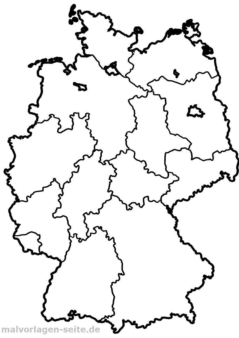 deutschland karte zum ausmalen Wie heißen die 16 Bundesländer von Deutschland und ihre Hauptstädte