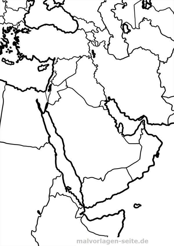 Landkarte Naher Osten zum Ausmalen und selber Gestalten