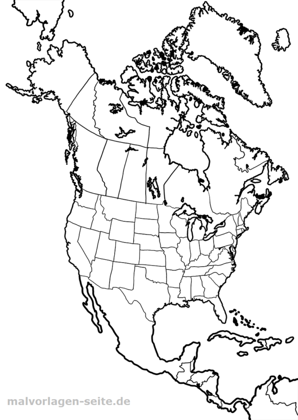 Landkarte Nordamerika zum Ausmalen | Gratis Malvorlagen zum Download