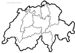 Map of Switzerland with cantons