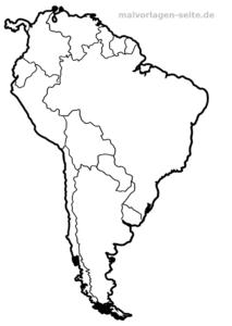 Landkarte Südamerika