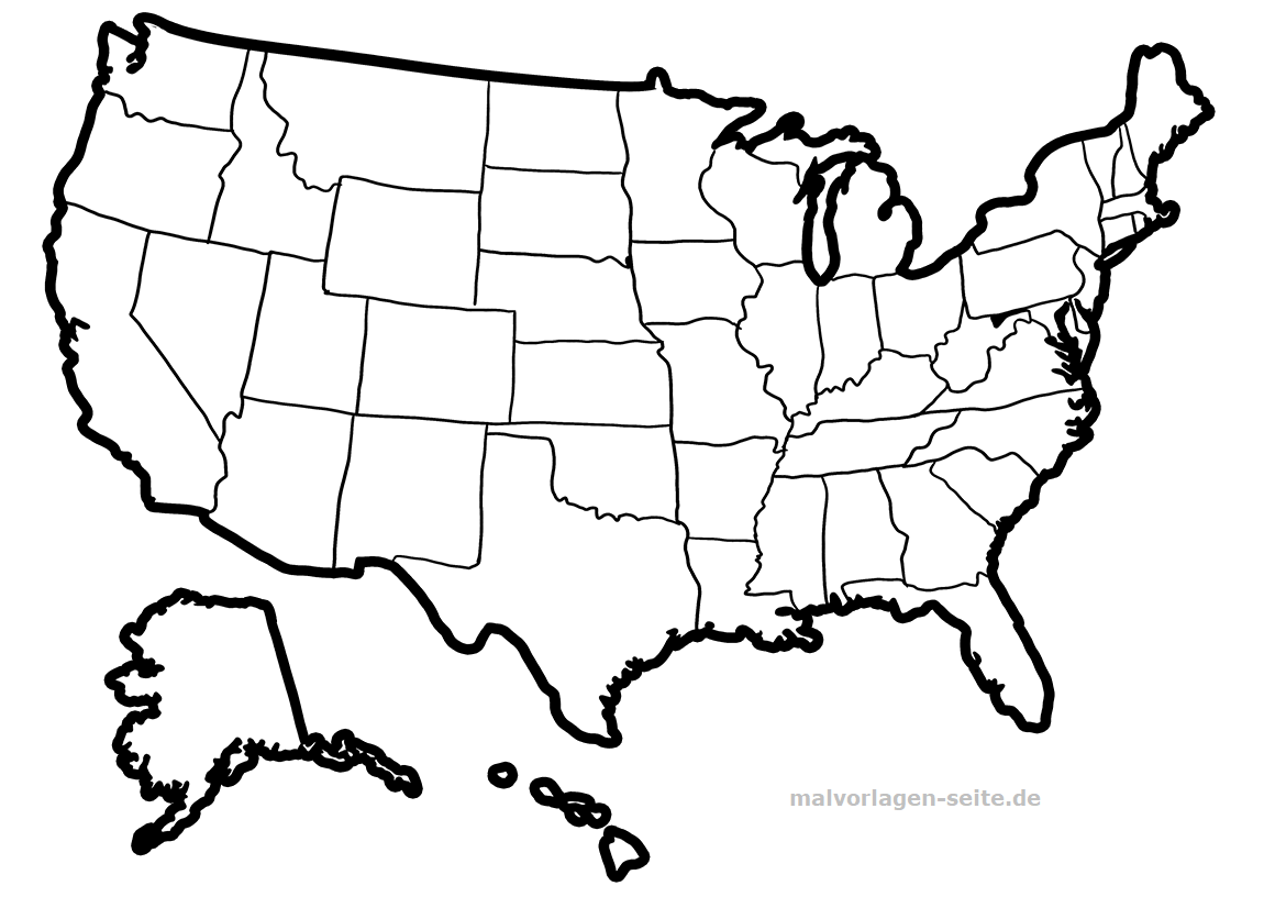 Landkarte Usa Zum Ausmalen Und Selber Gestalten
