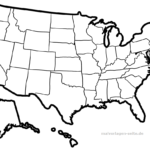 Map USA for coloring and designing