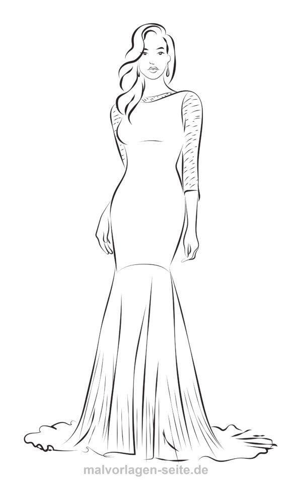 Dibujo para colorear Moda - Modelo en vestido de noche | Páginas ...