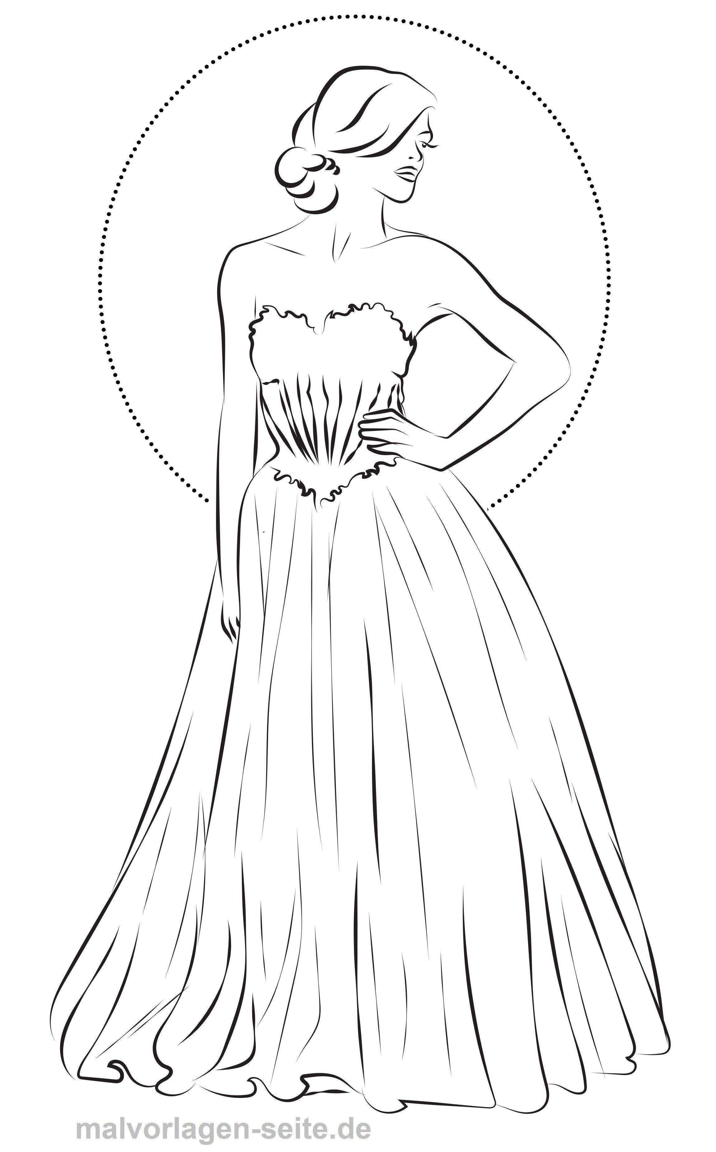 Malvorlage Mode Abendkleid